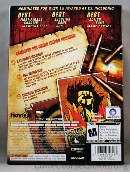 Collectorsedition Org Far Cry 2 Gamestop Pre Order Edition 360 Ntsc