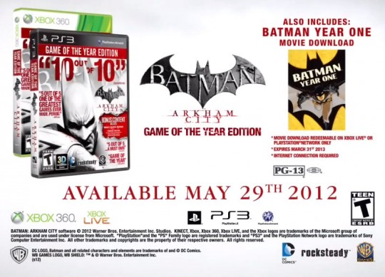 Batman Arkham City Game of the Year Edition america