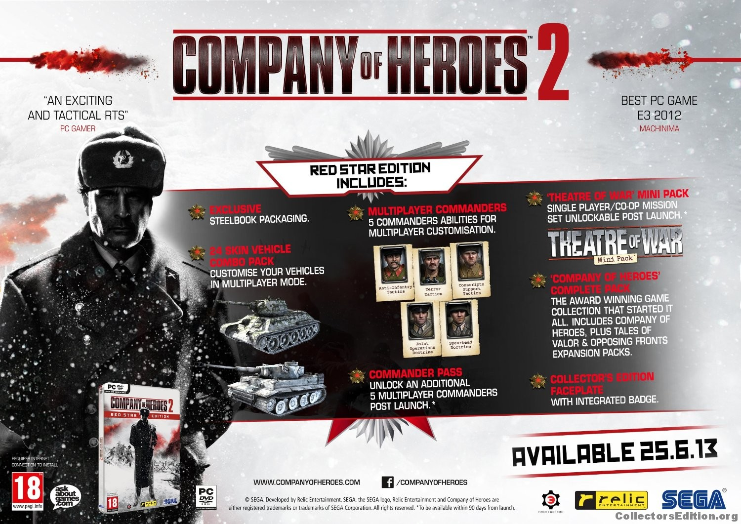 Collectorsedition Org Company Of Heroes 2 Red Star Edition Pc Dvd Rom