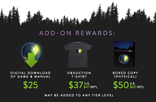Obduction Kickstarter Add On Rewards